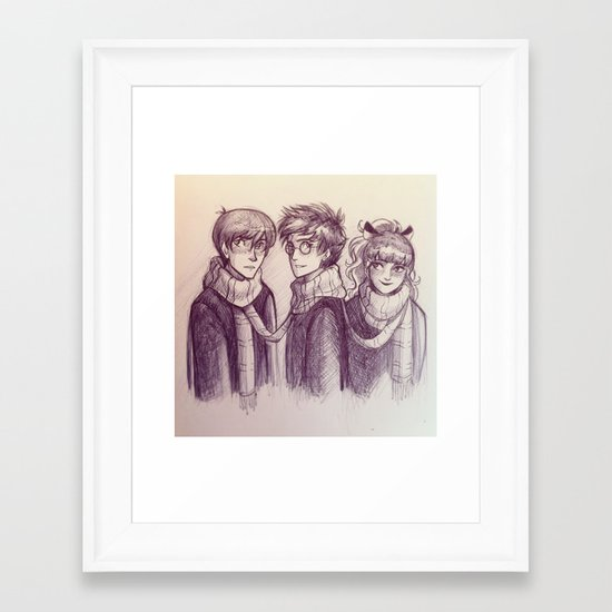 Harry, Ron & Hermione Framed Art Print