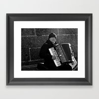 Accordion Busking on Howth Bay Framed Art Print