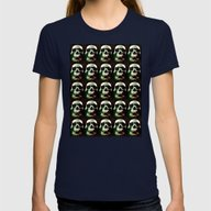 Scary Skulls Grunge Grap… Womens Fitted Tee Navy SMALL
