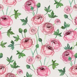 Art Print - Painted Pink Ranunculus Pattern - micklyn