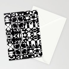 Black and White Square 3  Stationery Cards