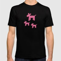 Dogs-Pink Mens Fitted Tee Black SMALL