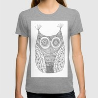 Owl Doodle art Womens Fitted Tee Tri-Grey SMALL