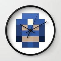 hero pixel white blue Wall Clock