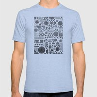 Modern Elements with Black. Mens Fitted Tee Athletic Blue SMALL