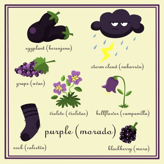 Colors: purple (Los colores: morado) Art Print
