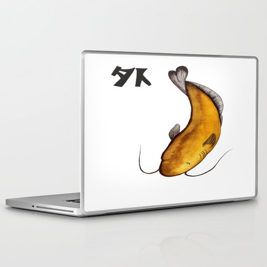Japanese Catfish Void Kanji painting Laptop & iPad Skin