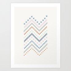 Mixed Zig Zag - in Cobalt Art Print