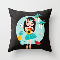 Hawaii summer hula girl Throw Pillow