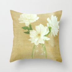 Burlap and Roses Throw Pillow