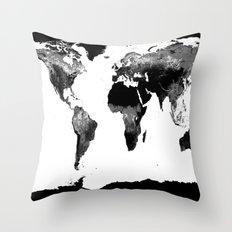 World Map  Black & White Throw Pillow