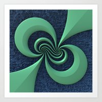 Green on Blue Art Print
