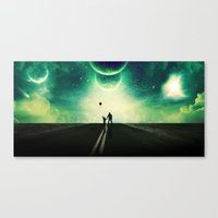 A Father And Son Walk Canvas Print