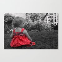 Sitting Red Dress Canvas Print