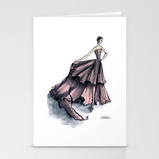 Audrey Hepburn in Pink dress vintage fashion Stationery Card