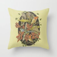 Robins And Warblers Throw Pillow