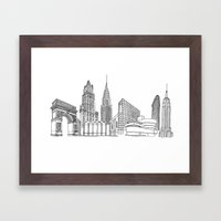 NYC Landmarks by the Downtown Doodler Framed Art Print