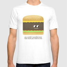 Cheesy Burger Mens Fitted Tee SMALL White