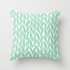 Hand Knitted Mint Throw Pillow