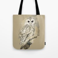 Tote Bag featuring Sepia Owl by Christina Rollo