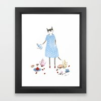 Tea Party Cat in a Karen Walker Dress Framed Art Print