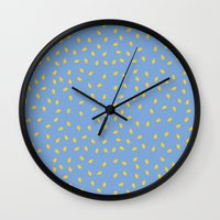Yellow Pit On Blue /// W… Wall Clock