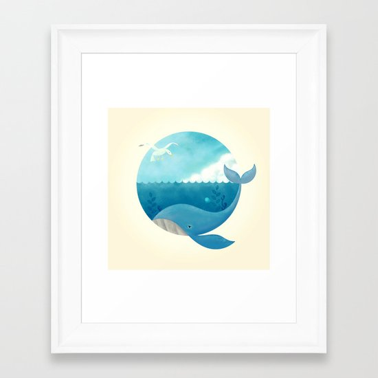 Whale & Seagull (US and THEM) Framed Art Print