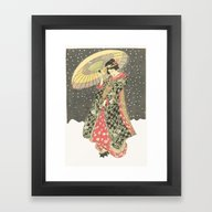 Framed Art Print featuring In The Snow With An Umbr… by Anipani