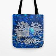 Silver Blue Deer Tote Bag