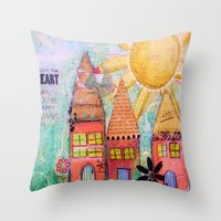 3 Row Houses Throw Pillow