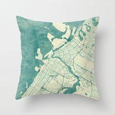 Dubai Map Blue Vintage Throw Pillow