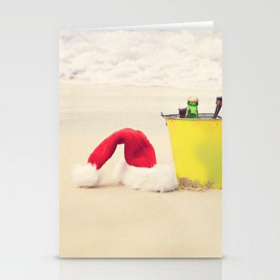 Santa Hat and Beach Beverage Stationery Card