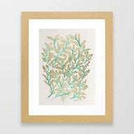 Green & Gold Branches Framed Art Print