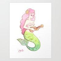 ukulele mermaid Art Print