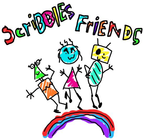 Scribble Friends Art Print