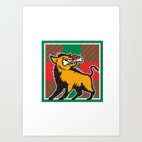 Wild Boar Bone In Mouth Tartan Square Retro Art Print