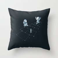 Hopscotch Astronauts Throw Pillow