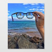 Hawaii Sunglasses Palmtrees Canvas Print