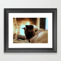 Fire Cat Framed Art Print