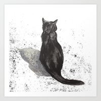 black cat shadow Art Print