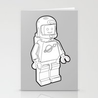 Vintage Lego Spaceman Wireframe Minifig Stationery Cards