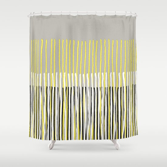 Yellow Rising abstract stripes in yellow grey black