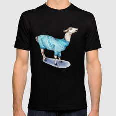 Llama in a Blue Sweater Mens Fitted Tee Black SMALL