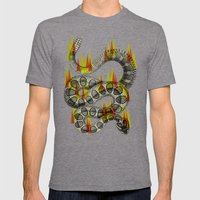 rattlesnake on fire! Mens Fitted Tee Tri-Grey SMALL