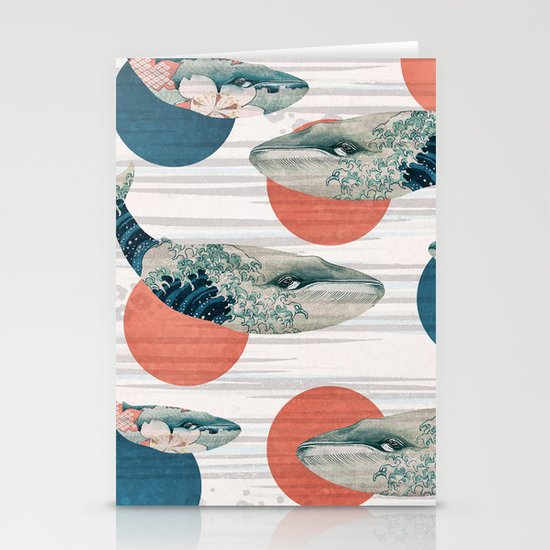 Whales and Polka Dots Stationery Card