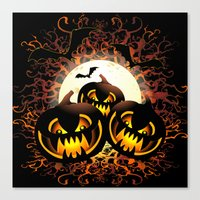 Black Pumpkins Halloween… Canvas Print