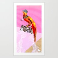 Art Print featuring >>BOOMBOXBYRD by Olive Primo Design + Illustration
