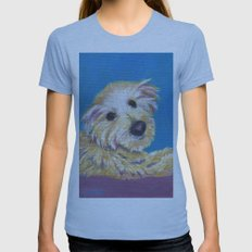 Chance, the Therapy Dog Womens Fitted Tee Athletic Blue SMALL