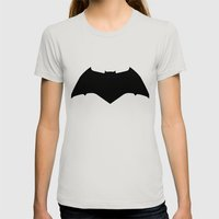 Dawn of Justice : Bat Symbol Womens Fitted Tee Silver SMALL