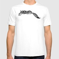 Sleeping Grey Wolf Mens Fitted Tee White SMALL
